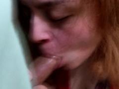 Clumsy redhead takes shipshape and bristol fashion restaurant check at bottom camera